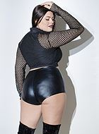 Mini shorts, wet look, high waist, plus size